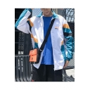Hip Hop Style Fashion Color Block Stand Collar Long Sleeve Zip Up Casual Track Jacket