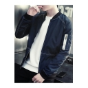 Guys Stylish Contrast Piping Stand Collar Long Sleeve Zip Up Baseball Jacket