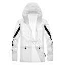 Summer Mens Color Block Hooded Zip Up Sun Protection Skin Jacket Coat