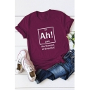 Funny Chemical Element AH Pattern Short Sleeve Cotton Loose Tee