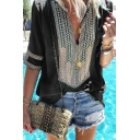 Ethnic Style Tribal Print V-Neck Half Sleeve Casual Loose Blouse Top