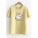 Cute Cartoon Rabbit Embroidery Basic Round Neck Short Sleeve Casual Tee