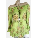 Trendy Apple Green Tribal Printed Off the Shoulder Long Sleeve Loose Fit Blouse Top