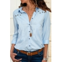 Unique Eyelet Embellished Long Sleeve Button Down Fitted Plain Shirt for Women