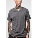 Guys Stylish Simple Plain V-Neck Short Sleeve Loose Fit Cotton T-Shirt