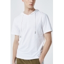 Summer Guys Simple Plain Short Sleeve Hooded Casual Cotton T-Shirt
