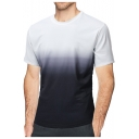 Summer Fashion Black and White Ombre Color Round Neck Short Sleeve Casual Loose Tee