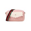 Women's Fashion Color Block Pocket Embellishment Striped Strap Crossbody Bag 18*7*11 CM