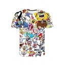 Summer Stylish Cartoon Comic Character Printed Round Neck Short Sleeve T-Shirt