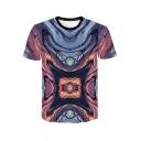 Fashion Abstract Art Whirlpool Print Round Neck Short Sleeve T-Shirt