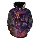 Popular Game Comic Figure 3D Printed Long Sleeve Purple Sport Loose Hoodie