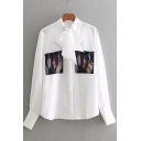 Chic Fashion Bow-Tied Collar Long Sleeve Button Down White Casual Shirt Blouse