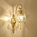 Metal Lantern Sconce Light with Crystal Bead 1 Light Antique Style Wall Lamp in Gold for Foyer Bathroom