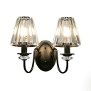 Metal Tapered Shade Sconce Light Villa Bedroom 2 Heads American Rustic Wall Lamp in Black