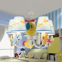 Lovely Car/Plane Chandelier Metal 5 Lights Blue Hanging Light for Boys Bedroom Study Room