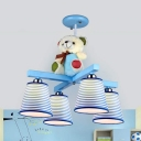 Kids Toy Bear Chandelier with Tapered Shade 4 Lights Fabric Pendant Light in Blue/Pink for Boys Girls Bedroom