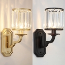 Metal Fake Candle Wall Light Kitchen 1 Lights Contemporary Sconce Light with Striking Crystal in Black/Gold