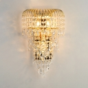 Luxurious Candle Sconce Light Metal Gold Wall Lamp with Crystal Ball for Hotel Restaurant