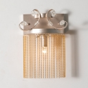 Stair Corridor Tassel Wall Sconce Metal Single Light Traditional Style Wall Lamp with Crystal