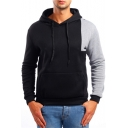 Mens Simple Fashion Colorblock Long Sleeve Fitted Sport Pullover Drawstring Hoodie