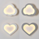 Simple Style Cloud/Heart Wall Light Acrylic Gray/White LED Sconce Light in Warm/White for Hallway