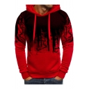 Mens New Stylish Tie Dye Basic Long Sleeve Slim Fitted Pullover Drawstring Hoodie