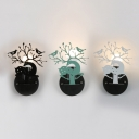Nordic Black/Green/White Sconce Light Deer & Bird 1 Head Metal Wall Sconce for Living Room