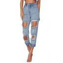 Summer Womens Cool Street Fashion Distressed Ripped Hole Light Blue High Waist Casual Jeans