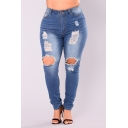 Womens Plus Size Fashion Blue Distressed Ripped Knee Cut Skinny Fit Denim Jeans