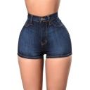 Womens Hot Popular Classic High Waist Skinny Fit Denim Shorts