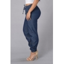 Womens Stylish Drawstring Waist Elasticized Cuff Loose Fit Denim Jeans