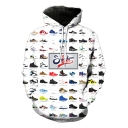 Cool Allover Shoes Printed Long Sleeve Loose Leisure Pullover White Hoodie