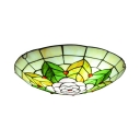 Child Bedroom Flower Leaf Ceiling Light Stained Glass Rustic Tiffany Flush Mount Light