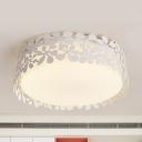 Petal Child Bedroom Flush Ceiling Light Acrylic Metal Lovely Third Gear/White LED Ceiling Lamp