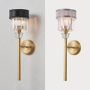 Torch Corridor Wall Sconce Metal 1 Head Traditional Wall Light with Clear Crystal in Black/Gray