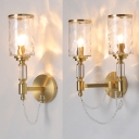 Front Door Candle Wall Light Dimple Glass 1/2 Heads Classic Gold Wall Lamp with Crystal Bead