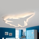 Fighter Aircraft LED Ceiling Lamp Modern Acrylic Warm/White Flush Mount Light in Black/Blue/White for Kids Bedroom