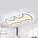 Acrylic Bat LED Ceiling Mount Light Child Bedroom Animal Third Gear Flush Light for Kid Bedroom