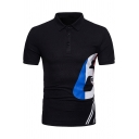 Mens Cool Simple Letter 6 Printed Three-Button Front Short Sleeve Slim Polo Shirt