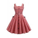 Womens Classic Trendy Check Pattern Sleeveless Button Front Red Midi Fit and Flared Swing Dress