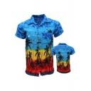 Summer Stylish Tropical Coconut Printed Mens Short Sleeve Beach Shirt