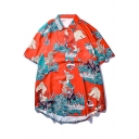 Mens Summer Trendy Ukiyo-e Style Sea Wave Printed Short Sleeve Red Beach Shirt