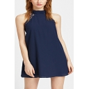 Womens Summer Fashion Halter Neck Sleeveless Plain Blue Mini Swing Dress