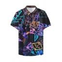 Mens Unique Cool Geometric Printed Short Sleeve Casual Shirt