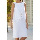 Womens Summer Fashion Simple Plain Round Neck Sleeveless Fake Two-Piece White Midi Tank Dress