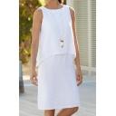 Womens Summer Fashion Simple Plain Round Neck Sleeveless Fake Two-Piece White Midi Tank Dress