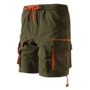 Summer Fashion Graphic Print Flap Pocket Side Drawstring Waist Casual Beach Shorts Cargo Shorts