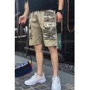 Street Style Cool Fashion Camouflage Printed Flap Pocket Drawstring Waist Casual Cargo Shorts for Men