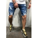 Cool Fashion Destroyed Ripped Detail Tape Side Slim Fit Light Blue Denim Shorts