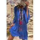 Womens Summer Trendy Chic Blue Floral Print Round Neck Casual Loose Ruffled Dress